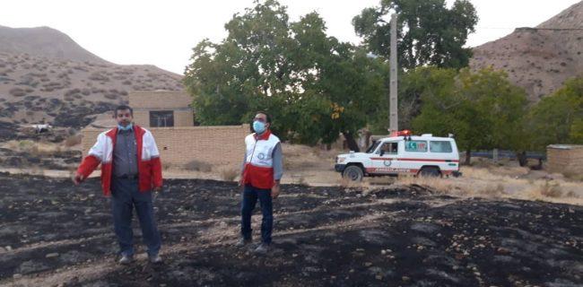مهار شعله های آتش در دشت بشکان بافق